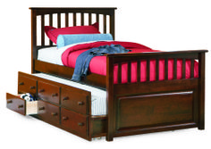 Twin Hardwood Mates Trundle Bed in a Antique Walnut finish with FREE SHIPPING nationwide! http://www.bunkbedkingdom.com/products/twin-hardwood-mates-trundle-bed-antique-walnut.html