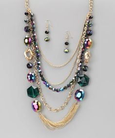 Take a look at this Green & Purple Emerald Princess Necklace & Earrings by Felicia LTD on #zulily today!