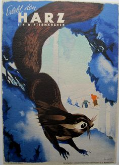 1935 Harz vintage travel poster / squirrel