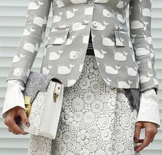 I love both fabrics. Whales and Flowers in gray and white. Pretty Contrast. Elegant