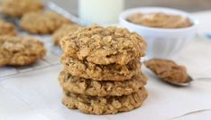 Healthy Pumpkin Protein Cookies by Danette May Oatmeal Applesauce Cookies, Oatmeal Chocolate Chip Cookies, Oatmeal Scotchies, Soft Cookie Recipe, Oatmeal Cookie Recipes, Yummy Cookies, Yummy Treats, Sweet Treats, Just Desserts