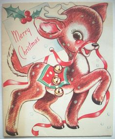 Reindeer with ribbon and bells  Vintage Christmas greeting card G*