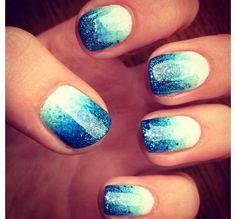 Blue Glitter Nail Art