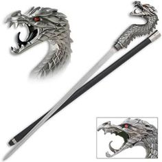 Dragon Samurai Sword Cane for sale feature a unique design that combines a traditional cane with mystical fantasy. The top of the cane bears a dragons head. The dragon's ruby red eyes watch mercilessly while his mouth remains open as though fire could shoot out at any second. The cane measures 35 inches in all. The 15 ½ inch blade is manufactured of 420 stainless steel. The black aluminum scabbard is lightweight which makes carrying it easy.