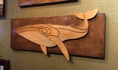 Whale - wood wall sculpture by artist Shaun Thomas. #art #wood #whale #sculpture #ocean #sea #humpback