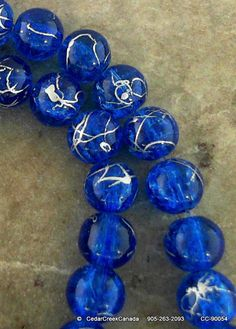 Royal Blue Drawbench 8mm Round Glass Beads by by CedarCreekCanada, $2.89
