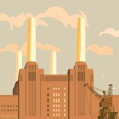 Battersea Power Station Print Art Deco Illustration, Building Illustration, Art Deco Posters, Poster Prints, London Drawing, Art Deco Stil, Battersea Power Station, London Landmarks, Railway Posters