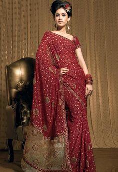 Maroon color Designer #saree