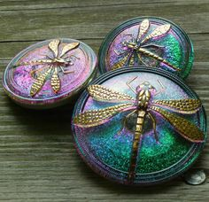 Modern Czech Glass Buttons set of 3 dragonfly by TheBeadedBead on Etsy...gorgeous iridescent colours...