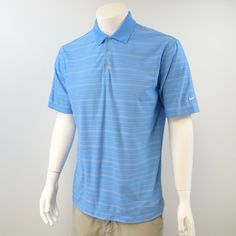 Nike Golf Fit Dry Men's Size Medium Short Sleeve Polo Shirt Blue Striped M295 #NikeGolf #PoloRugby