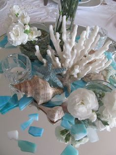 starfish, coral and shell center piece