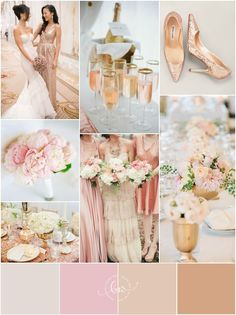 Glamorous Rose Gold Blush Pink And White Wedding Color Palette