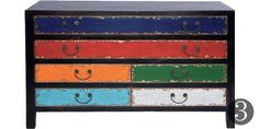 love these different colour drawers could addapt to chinese style with black body & cream red & blue drawers