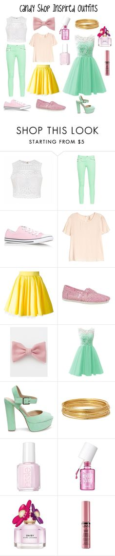 """Candy Shop Inspired Outfits"" by aechau ❤ liked on Polyvore featuring Ally Fashion, French Connection, Converse, H&M, Philipp Plein, Skechers, Steve Madden, Bold Elements, Essie and Benefit"