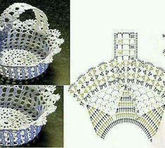 [무료도안]코바늘 바구니 도안모음! : 네이버 블로그 Crochet Vase, Diy Crochet Basket, Thread Crochet, Crochet Doilies, Crochet Flowers, Filet Crochet, Crochet Shell Stitch, Crochet Diagram, Crochet Chart