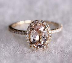 14K Yellow Gold Oval Cut 6x8mm VS Halo Morganite Ring Diamonds Wedding Ring /Engagement Ring/ Promise Ring/ Anniversary Ring