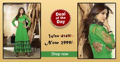 Deal of the day - #Green Faux Georgette #Anarkali #suit! Was Rs. 4,149, Now only Rs. 2,999! Grab your piece before the deal closes on 4th Sep 2014.  Order Now@ http://zohraa.com/green-faux-georgette-anarkali-suit-karmashilpashetty6012.html