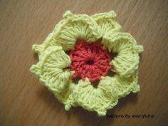 "free crochet video tutorials and patterns with charts: Crochet pattern ""3D flower motif"" by marifu6a"