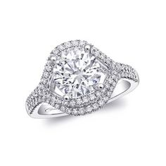 Diamond engagement ring  with a bold wide look.  Marshall Jewelry