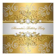 389 best stylish birthday party invitations images on pinterest elegant gold silver lace diamond overlay party invitation filmwisefo