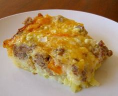 Make up a day ahead and pop in the oven for a delicious morning breakfast!!  Add in can of sweet whole corn kernels and replace sausage with turkey sausage and hash browns (less grits)