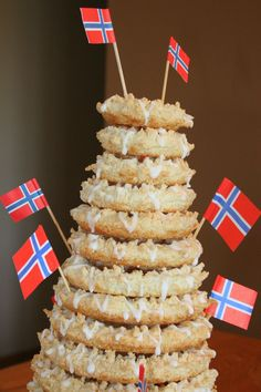 Norwegian Kransekake: There is no one typical cake served at a Norwegian wedding, but there are some that are much more common than others. The best known is the spectacular kransekake, also commonly served at christmas time. A well-made kransekake is quite the sight.
