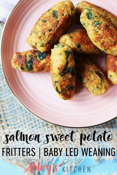 Recipes Snacks Finger Foods These Salmon Sweet Potato Fritters are a delicious high iron meal for starting solids with baby using a Baby Led Weaning (BLW) approach. Sweet Potato Recipes, Baby Food Recipes, Cooking Recipes, Healthy Recipes, Baby Sweet Potato Recipe, Curry Recipes, Healthy Foods, Sweet Potato Fritters, Sweet Potato Pancakes