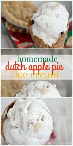 This homemade Dutch Apple Pie Ice Cream is so good, so creamy, and so easy! Only four ingredients, and you'll be enjoying the best ice cream you've ever made! Plus, you can package it up in a cute neighbor gift! Apple Pie Ice Cream, Ice Cream Pies, Homemade Ice Cream, Ice Cream Deserts, Ice Cream Treats, Ice Cream Recipes, Freezer Desserts, Desserts To Make, Delicious Desserts