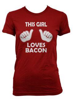This Girl Loves Bacon t shirt funny bacon shirt S-3XL. $14.99, via Etsy.