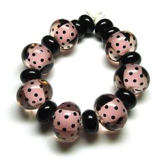 Beads By Laura: Lampwork glass 'Pink Polka' beads by Laura Sparling