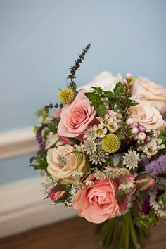 English country garden bouquet- would like this with a more antique/ less candy colored pink
