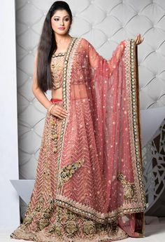 Fabulous Designer Lehenga Designs For Wedding Ceremony - PK Vogue Pakistani Wedding Dresses, Indian Wedding Outfits, Pakistani Bridal, Bridal Lehenga, Lehenga Choli, Indian Dresses, Indian Outfits, Telugu Wedding, Pink Lehenga