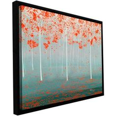 ArtWall Herb Dickinson Dream Forest Floater Framed Gallery-Wrapped Canvas, Size: 18 x 36, Red