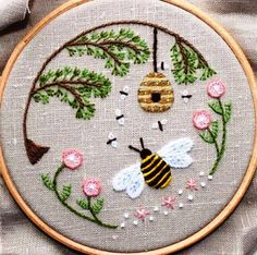 "This sweet embroidery reminds us (at least in our part of the world) what we have to look forward to next Spring. This is ""Bee's World"" from The Floss Box"