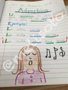 First grade dual language grammar journal entry: Adverbs Gramática: Adverbios modificando el verbo