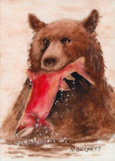 ACEO Original Bear Salmon animals wildlife fishing feeding spawning fish #Impressionism