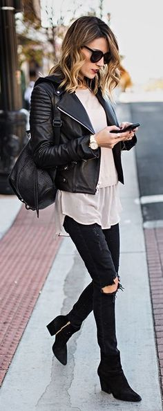 #street #style fall / leather