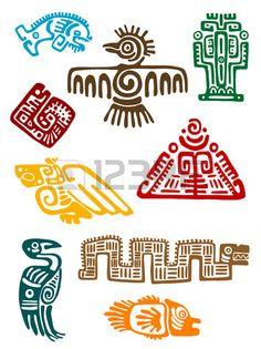 Monstres anciens Mayas ensemble de la conception religieuse Vector illustatin Banque d'images