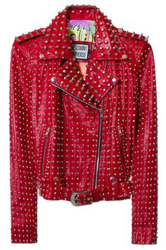 DISCOUNT UNIVERSE DU STUDDED BIKER JACKET DESCRIPTION. Made in Indonesia. 80% Leather 20% Cotton. SIZE & FIT Fits true to size. DISCOUNT UNIVERSE Discount Universe is a Melbourne-based label from Aussie duo Cami James and Nadia Napreychikov. Their bright, hand-embellished pieces that pack a punch with sequins, gems, and cartoon-like graphics have won them legions of loyal fans. A VFILES THIRD FLOOR showroom designer and VFILES RUNWAY F/W 2015 winner!