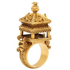 Gold Indian Temple Ring | From a unique collection of vintage cocktail rings at https://www.1stdibs.com/jewelry/rings/cocktail-rings/