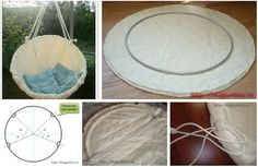 Here's the link to the tutorial >> DIY Hoop Hammock Step by Step Tutorial << >>> More Creative Tutorials More Creative Ideas Macrame Hanging Chair, Macrame Chairs, Diy Hanging, Backyard Projects, Diy Projects, Diy Hammock, Hammocks, Hammock Swing, Diy Chair
