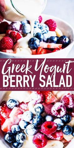 Dieser griechische Joghurt-Beeren-Salat ist die perfekte Sommerbeilage oder das … This Greek yogurt and berry salad is the perfect summer side dish or the perfect dessert. The sw … – Blueberry Recipes – Fruit Salad With Yogurt, Fruit Salad Making, Best Fruit Salad, Dressing For Fruit Salad, Berry Salad, Dressing Recipe, Fresh Fruit, Fruit Juice Recipes, Yogurt Recipes