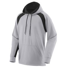 5.75 ounce 100% polyester performance wicking fleece Wicks moisture Woven label Contrast color hood with drawcord on Adult S-3XL sizes only Contrast color inserts Raglan sleeves Front pouch pocket Self-fabric cuffs and bottom band Augusta Sportswear, Wholesale Hoodies, Cool Hoodies, Sportswear Brand, Hooded Sweatshirts, Navy And White, Printed Shirts, Hooded Jacket, Contrast Color