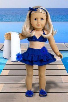 This is SO cute for AG Bikini Mini - 4 piece bikini outfit includes skirt, bikini top, matching flip flops and beach blanket