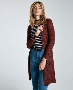 "<p>This lightweight sweater features a marled knit body with pointelle designs, side-slits, ribbed trim, and a longline duster length.</p>  <p>Model is 5'11"" and wears a size small.</p>  <ul> <li>Open Front</li> <li>Long Sleeves</li> <li>Lightweight</li> <li>41.25"" From Shoulder to Hem</li> <li>Acrylic</li> <li>Machine Wash</li> <li>Imported</li> </ul>"