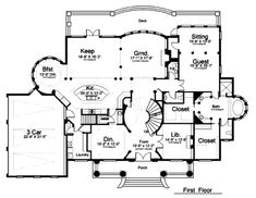 Georgian Style House Plans - 5699 Square Foot Home, 2 Story, 5 Bedroom and 4 3 Bath, 3 Garage Stalls by Monster House Plans - Plan The Plan, How To Plan, Plan Plan, Home Design Floor Plans, Plan Design, Design Ideas, Dream House Plans, House Floor Plans, Georgian Style Homes