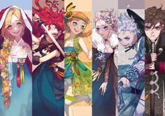 Rapunzel, Merida, Anna, Elsa, Jack and Hiccup