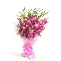 Send a 6-stem puple orchid bouquet in a cellophane packing with pink ribbon bow to your loved ones through Flower Boutique  http://fbn-flower.blogspot.in/2015/09/perfect-n-elegance.html
