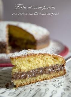 torta al cocco farcita con nutella e mascarpone