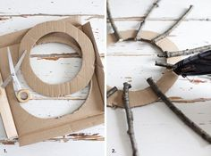 Herbstkranz Basis Pappe The Effective Pictures We Offer You About DIY Wreath base A quality picture Twig Crafts, Wreath Crafts, Nature Crafts, Diy And Crafts, Advent Wreath, Fun Crafts, Easy Christmas Crafts, Christmas Wreaths, Christmas Decorations